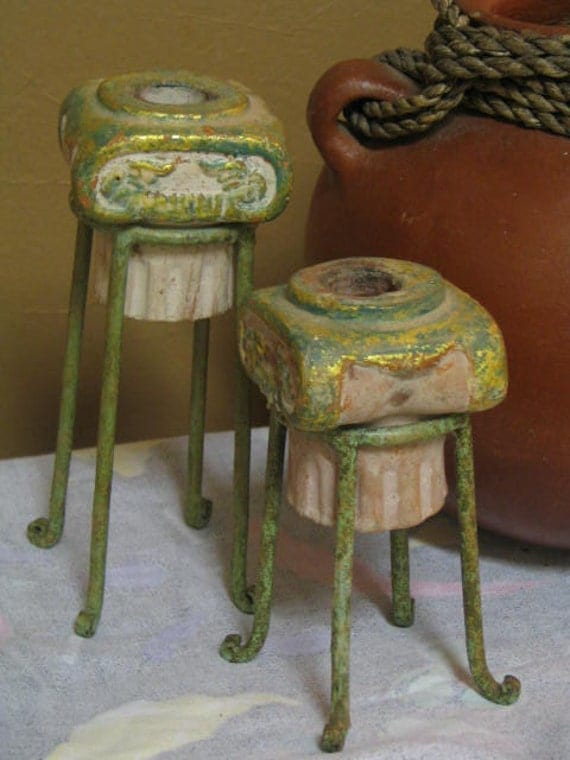 Vintage Candle Holders Southwest Pottery Home Decor