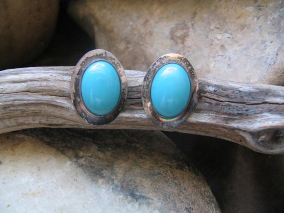 Vintage Navajo Turquoise Post Earrings Set In Sterling Silver Sleeping Beauty