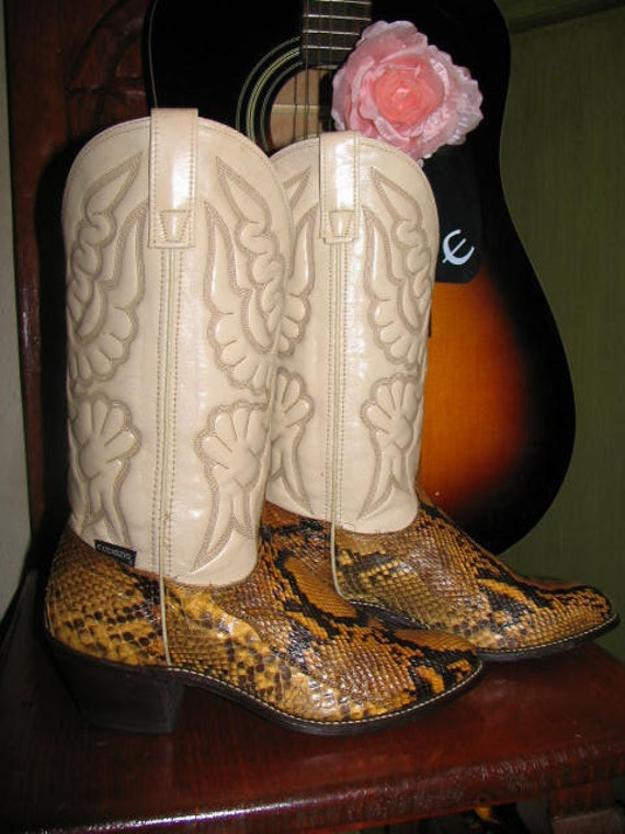 Vintage Women's Western Boots Capezio Python Snake Brown Gold White Southwest