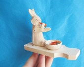 "Hand Carved Moving Wooden Toy ""Rabbit with carrots"""