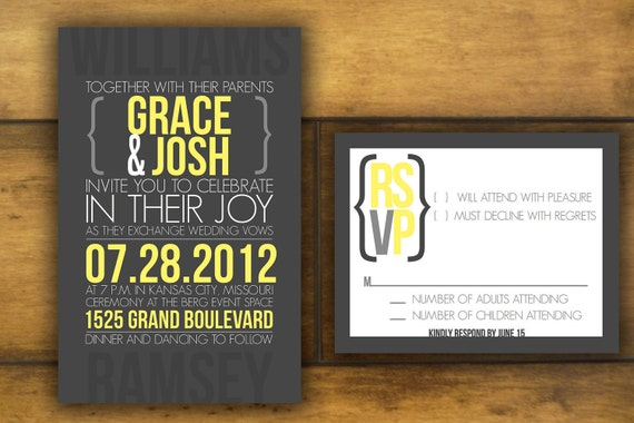 Custom, Chic Yellow and Gray Wedding Invitation and Reply Card- Modern and Printable-The Grace