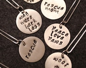 Silver Necklace with Animal Friendly Phrases - Custom Orders Select This Option