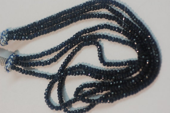 Natural Blue Sapphire Rondelle Faceted 3 strands