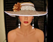 Women Tan Stripe Floppy Visor Hat