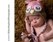 Crochet Baby Girl Sleepy Pink Owl Hat Photo Prop with Ear Flaps. Newborn Infant Hoot, Hoot.