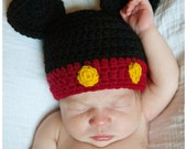 Baby Mickey Mouse Hat Crochet Infant Newborn Boy or Girl. Black, Gold, and Red