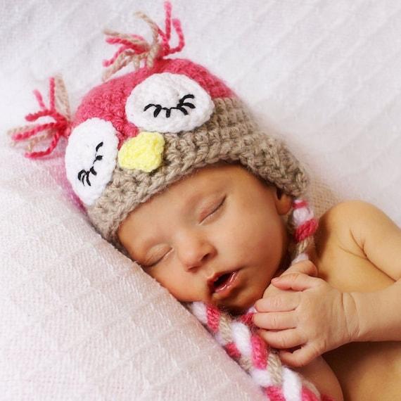 Crochet Baby Girl Sleepy Pink Owl Hat Photo Prop with Ear Flaps. Newborn Hoot, Hoot.