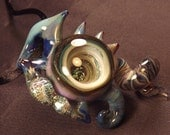 Handblown Glass Dichroic Vortex Necklace - De Neveu Glass - Pendant Fashion Jewelry