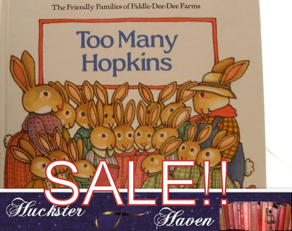 SALE -TOMIE dePAOLA- Too Many Hopkins, vintage illustrated pictorial boards, Childrens book