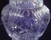 Vintage Rare Large Cut Crystal Ginger Jar Biscuit Barrel