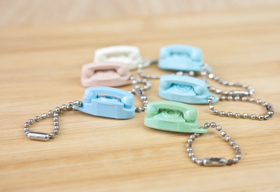 Miniature Princess Telephone Keychains, Advertising from Southwestern Bell (set of 6)