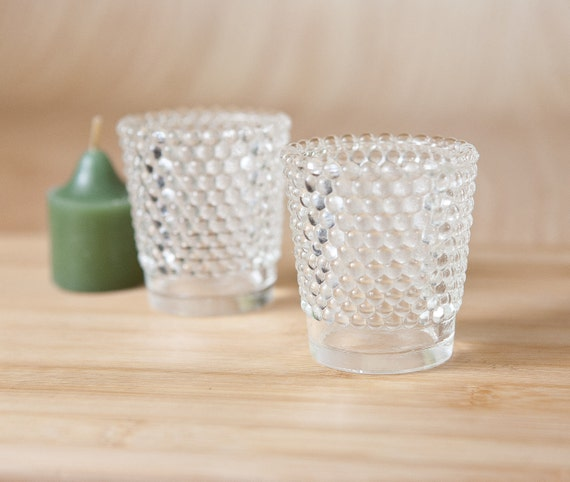 RESERVED, Clear Hobnail Glass Votive Candle Holder (set of 2)