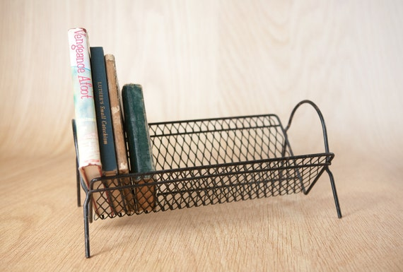 RESERVED, Mid Century Table Top Book Rack, Wire Mesh