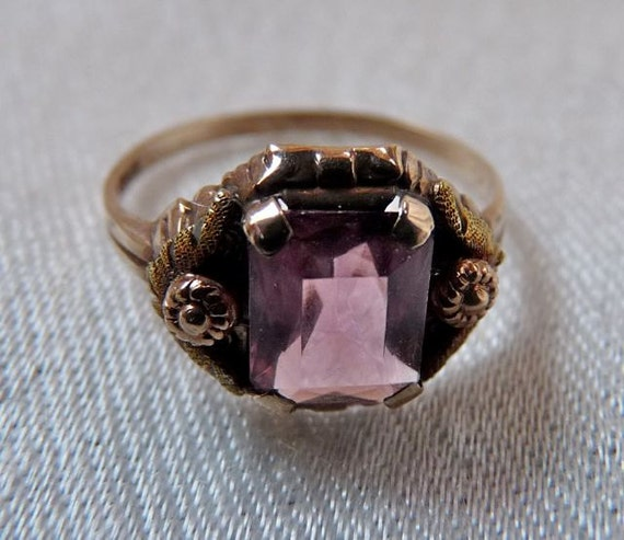 Art Deco 10K Gold Amethyst Glass Ring BDA