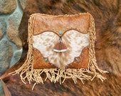 """Western leather pillow 16 X 16 vintage style tan tooled leather palomino cowhide """"cowboy boot"""" design turquoise STARGAZER MERCANTILE"""