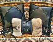 "Western leather pillow home decor vintage style tooled black gold coyote fur ""cowboy boot"" design luxury Southwest STARGAZER MERCANTILE"