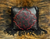 Leather pillow Western style 16 X 16 black tooled leather red filigree overlay cowboy luxury SHOWROOM SAMPLE SALE