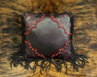 Leather pillow, Western style vintage cowboy 16 X 16 red black tooled leather filigree overlay SHOWROOM SAMPLE SALE