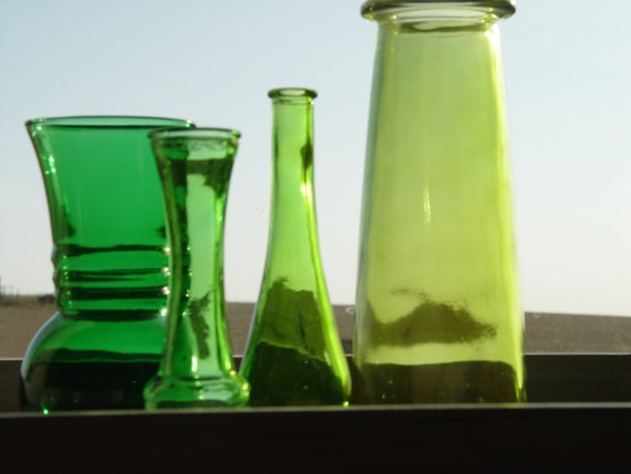 REDUCED  Four Shades Of Green Vases