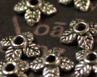 50 pcs Silver Leaf End Caps 6mm (SB149)
