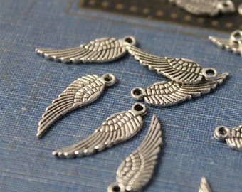 25 pcs Antique Silver Wing Charms Drops 17mm (SC273)