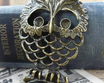 2 pcs Cute Large Antique Bronze Wise Owl Pendant Charms 60mm (BC366)