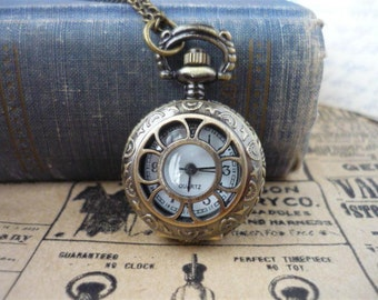 Antique Bronze Retro Daisy Pocket Watch with Chain- (BC378)