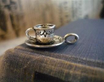 6 pcs Antique Silver Tea Cup Charms 26 x 18mm (SC552)