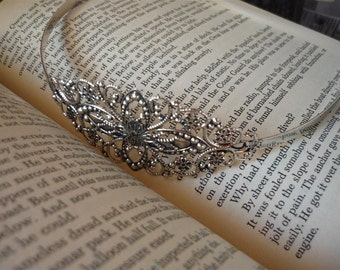 1 Pc Antique Silver Ornate Filigree Headband Cabochon Base (SFC598)