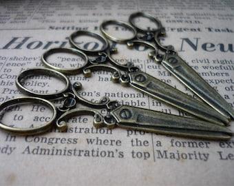 4 pcs Antique Bronze LARGE Scissor Charm 60mm (BC621)