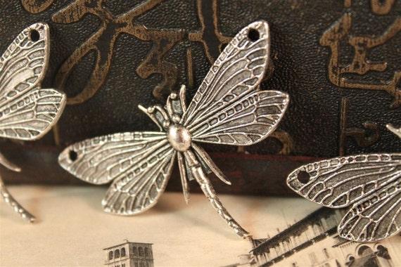 5pcs Large Antique Silver Dragonfly Charms Pendants Connectors 49 x 31mm (SC390)
