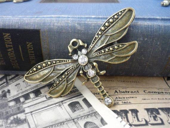 2 pcs Large Dragonfly Charm Pendants With Rhinestones 73 x 42mm (BC369)