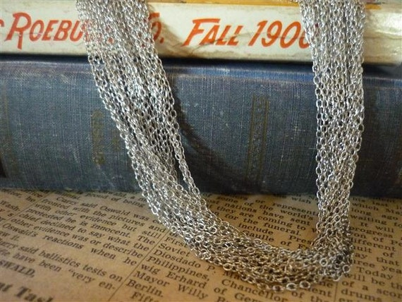 Over 60 feet Antique Silver Dull Silver Open Link Chain 3 x 2mm (SCN463)