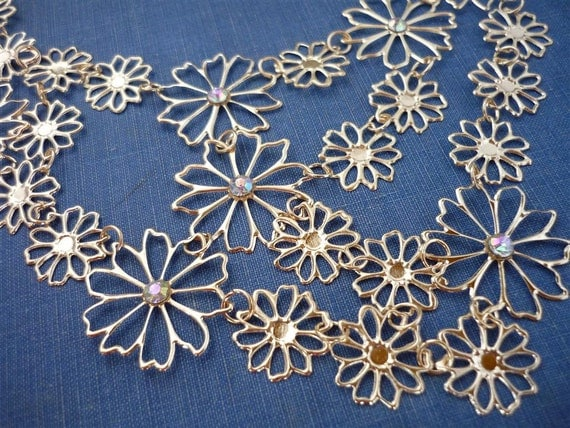 Gold Floral Necklace Base- Great for Polymer Clay or Resin Cabochons (GC590)