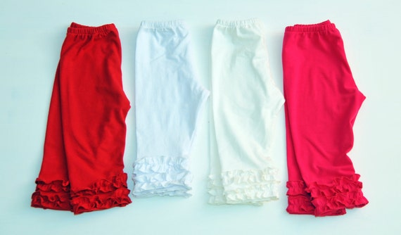 Girls Capris - Cotton Knit - Double Ruffle Capris - Custom Made - Girls Pants Pattern - 3M to 6T - Red, Fuchsia, White and Ivory Colors