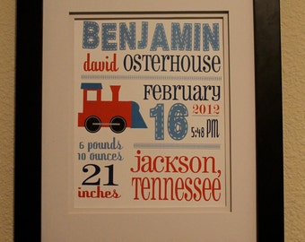 "Customized Birth Announcement Train Theme Nursery Print - 8""x10"" - LOVELY LITTLE PARTY"