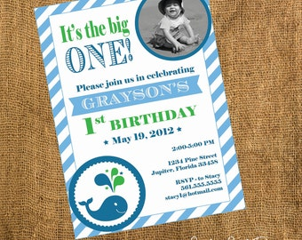 DIY Printable or Professionally Printed Whale 1st Birthday Invitation - Lovely Little Party