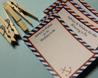 Printable Advice & Wishes Cards - nautical baby shower collection - Lovely Little Party