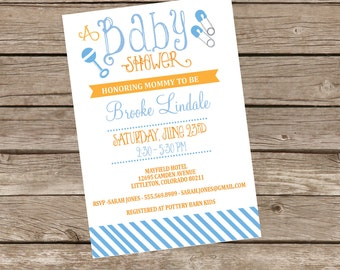 DIY Printable or Professionally Printed Vintage Baby Shower Invitation - You choose colors - Lovely Little Party