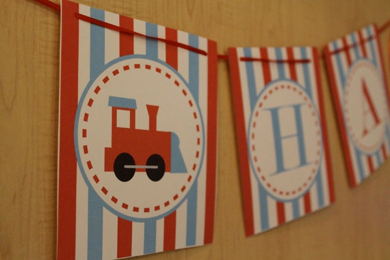 "Printable ""Happy Birthday Banner"" Train Collection- LOVELY LITTLE PARTY"