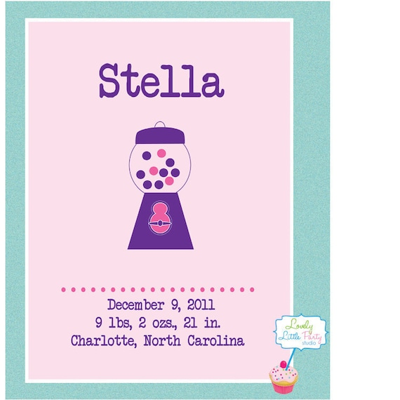 """Customized Birth Announcement Nursery Print - 8""""x10"""" - LOVELY LITTLE PARTY"""