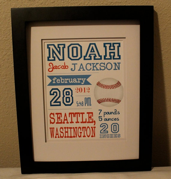 "Customized Baseball Theme Nursery Print - 8""x10"" - LOVELY LITTLE PARTY"
