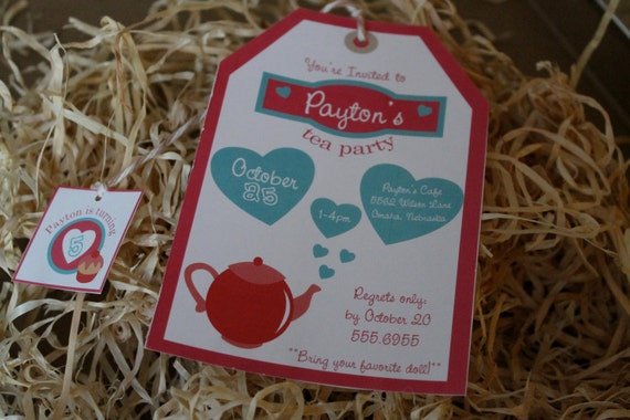 DIY Printable Tea Party Birthday Invitation Kit - Invite AND Thank You Card included