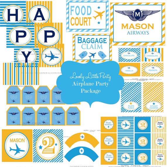 Printable Personalized Airplane/Airways  Birthday Package - LOVELY LITTLE PARTY