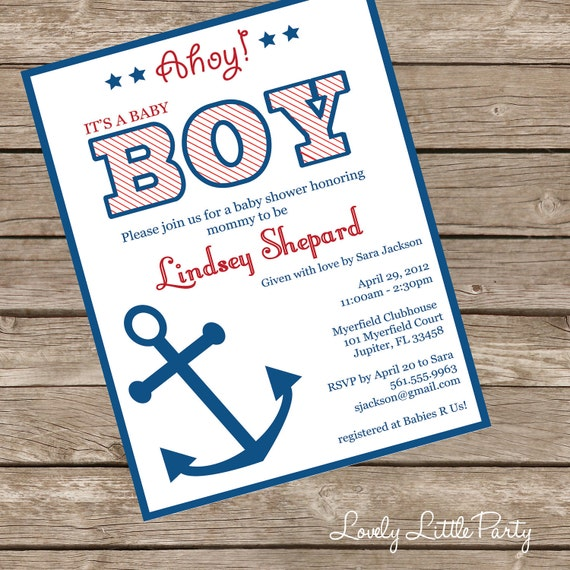 Printable or Printed Nautical Baby Shower Invitation - Lovely Little Party