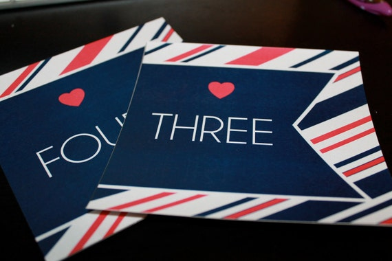 DIY Printable Modern Striped Table Number Cards - Numbers 1-20  - You Choose Color
