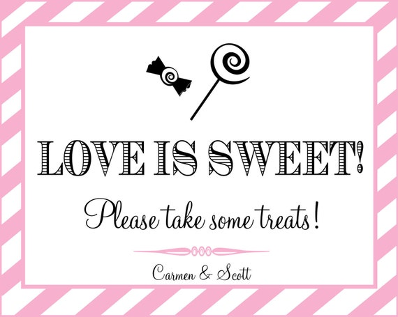 Printable Personalized LOVE IS SWEET sign  - You Choose Color - Lovely Little Party