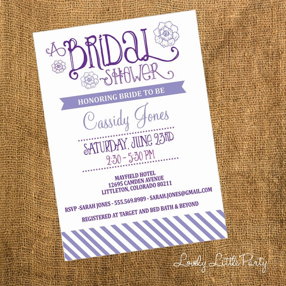 DIY Printable or Professionally Printed Modern Bridal Shower Invitation - You choose colors - Lovely Little Party