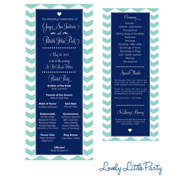 Simple Chevron Wedding Program- DIY Printable - Lovely Little Party - You Choose Color