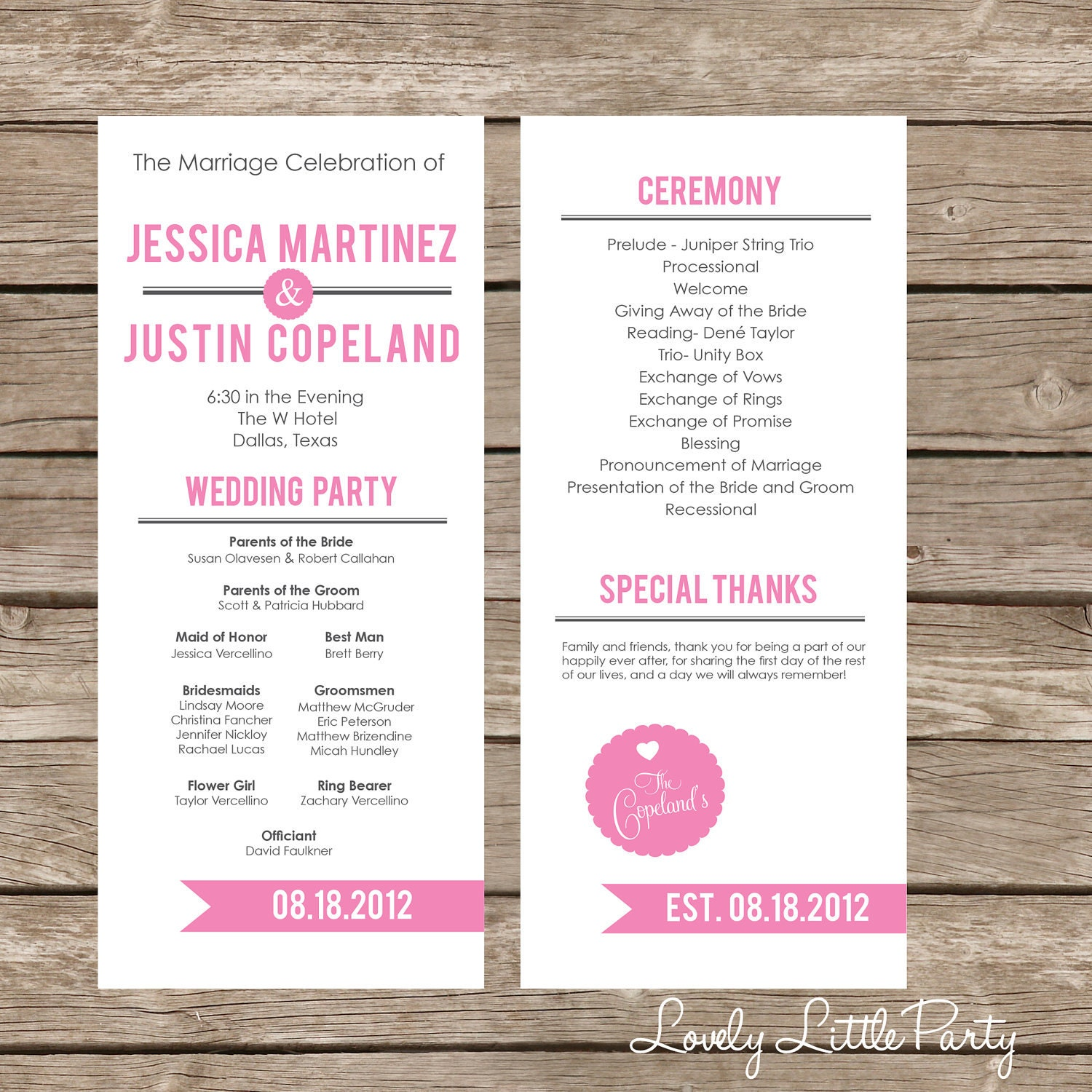 Simple Ultra Modern Wedding Program DIY Printable Lovely